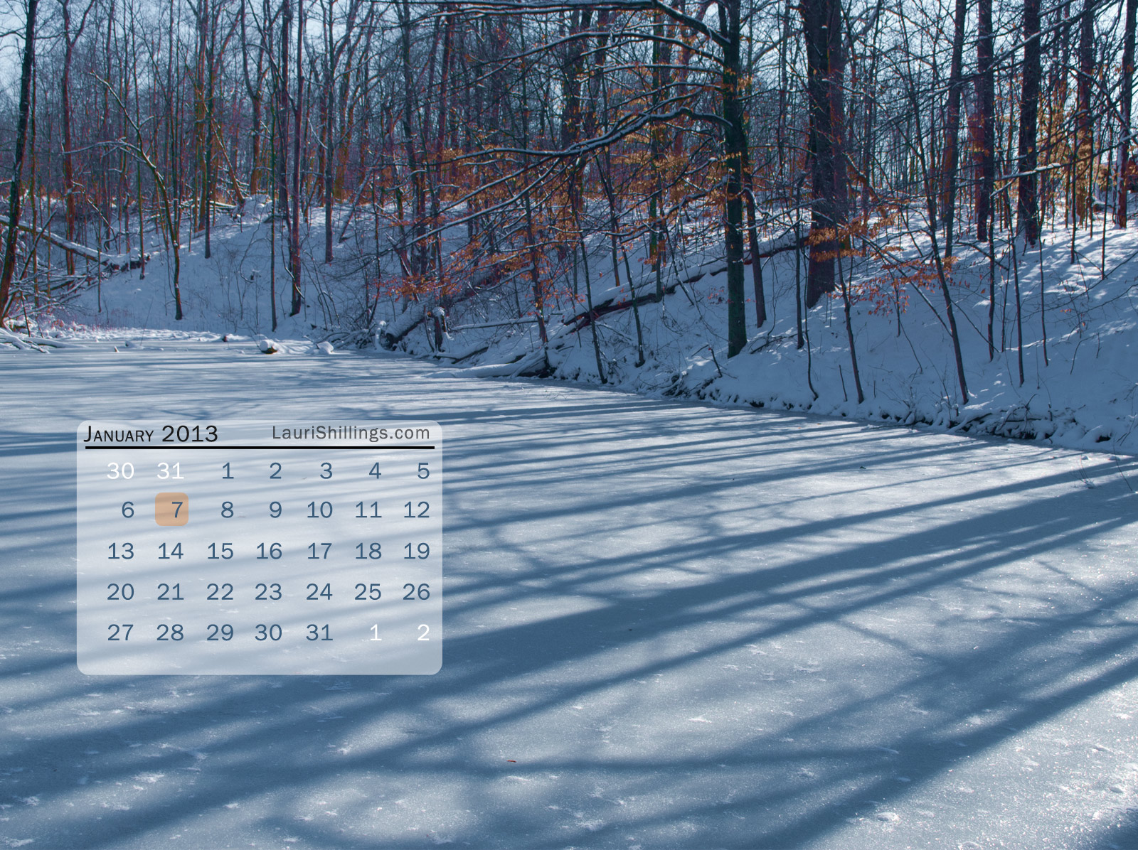 January 2013 digital desktop calendar
